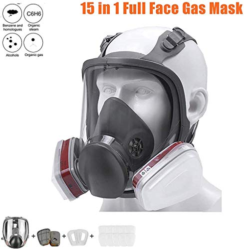 Qianyuyu 15 in 1 6800 Full Face Paint Respirator Gas Chemical Dustproof Mask Double Air Filter, Eye Protection, Respiratory Protection, Organic Vapor Respirator, Big Vision with Cotton,001