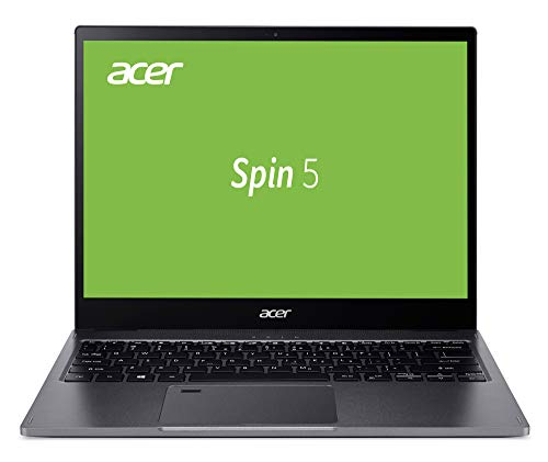 Acer Spin 5 (SP513-54N-79EY) 33,8 cm (13,5 Zoll QHD IPS Multi-Touch) Convertible Laptop (Intel Core i7-1065G7, 16 GB RAM, 1.000 GB PCIe SSD, Intel Iris Plus Graphics, Win 10 Home) grau
