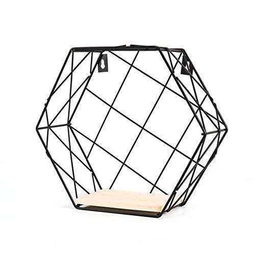 MINGMIN-DZ Dauerhaft Moderne Tisch Vase Hexagon Metallblumen-Blumentopf Tray Cube Pergola Garten Bepflanzung Blume Home Decoration (Color : Grid Black L)