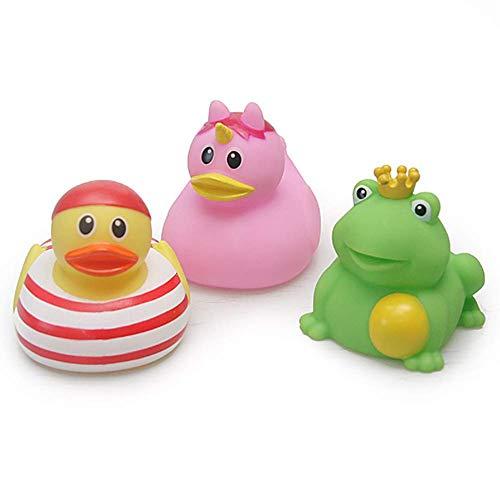 Molinter Gummiente Quietsche Ente Frosch Baby Badeente Bade Badeenten Gelb Quietscheente Gummienten für Baby Dusche Spielzeug