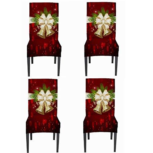 JUNGEN 4 Stück Weihnachts Stuhlhussen Weihnachten Stuhl Hussen 4er Set Stretch Stuhlbezug Elastische Husse Stuhlüberzug Dekoration für Weihnachten Party