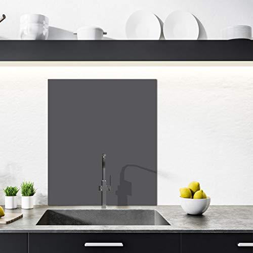 Crédence Aluminium Cuisine - 60 x 70 cm - Coloris Gris Foncé - Crédence Alu 3 mm Adhésive - Double face - Fond de Hotte - Plaque Aluminium
