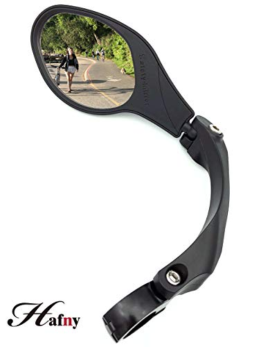 Hafny Stainless Steel Lens Handlebar Bike Mirror, Safe Rearview Mirror, Bicycle Mirror, Cycle Mirror (Black Left Side w/Reflector) (Left)