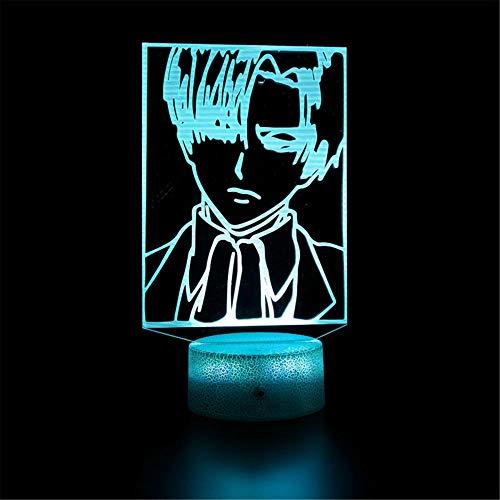 3D LED noche luz 3D lámpara de ilusión óptica ataque a Titan H USB Powered 16 colores intermitente interruptor táctil dormitorio decoración iluminación para niños regalo de Navidad