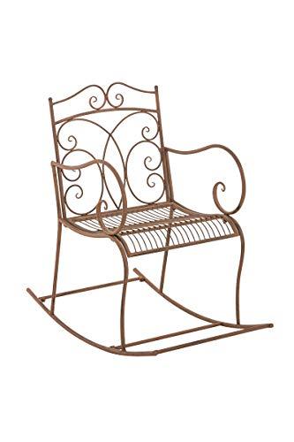 CLP Eisen-Schaukelstuhl Edith im Landhausstil I Schwingstuhl mit hoher Rückenlehne I erhältlich, Farbe:antik braun