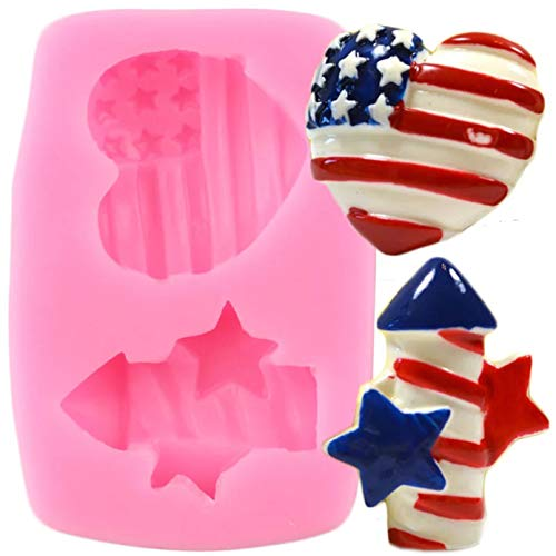 ZHQJY DIY Fondant Cake Decorating Tools Firecracker Heart Silicone Molds Chocolate Candy Polymer Clay Moulds