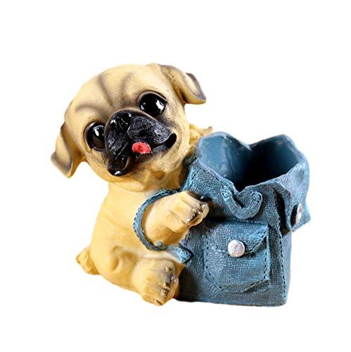 [クイーンビー] ミニチュア 犬 ペンスタンド ペン 立て かわいい おしゃれ 小さい 卓上 収納 ケース インテリア デスク アクセサリー 文具 文房具 鉛筆 事務用品 プレゼント (B)