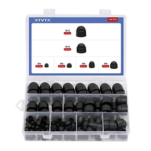 XTVTX 145PCS Tapa de tornillo hexagonal tapas de tornillo para tornillos impermeables decorativas M4-M12 (negro)