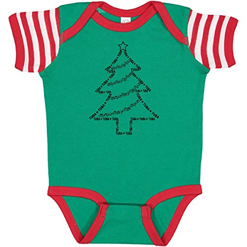 inktastic Tuba Text Christmas Infant Creeper 6 Months Green, Red and White 2e11f