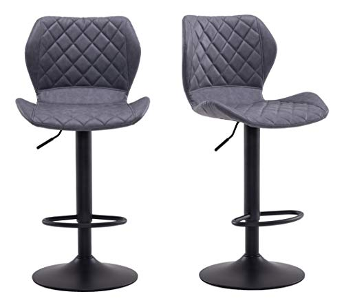 Requena Vintage Bar Stools Set of 2, Leatherette Exterior, Adjustable Swivel Gas Lift Footrest and Base for Breakfast Bar Home Kitchen Barstools X652 (Dune-Grey)
