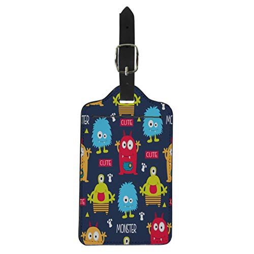 Pinbeam Luggage Tag Pattern Monsters Cute Little Boy Toy Clipart Alien Suitcase Baggage Label