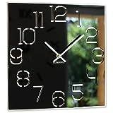 Reloj de Pared Cuadrado Digit de 30 cm de diámetro, sin Ruido de tictac, Moderno, diseño de Cristal acrílico y Espejo acrílico, salón, Dormitorio (Negro)