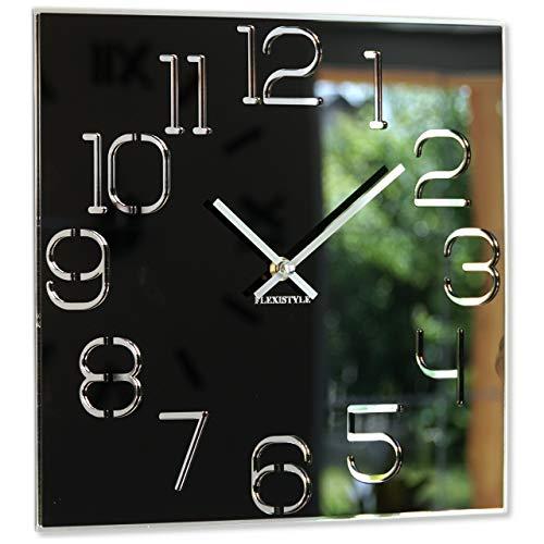 Horloge Murale carrée Digit 30 cm de diamètre, sans Bruit de tic-tac Moderne, Design en Verre Acrylique et Miroir Acrylique pour Salon, Chambre à Coucher (Noir)
