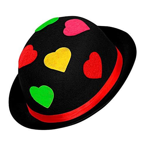 WIDMANN 16711 - Sombrero de Payaso para Adultos, Multicolor, meln de Fieltro, con Corazones, Sombrero, Disfraz, Carnaval, Fiesta temtica