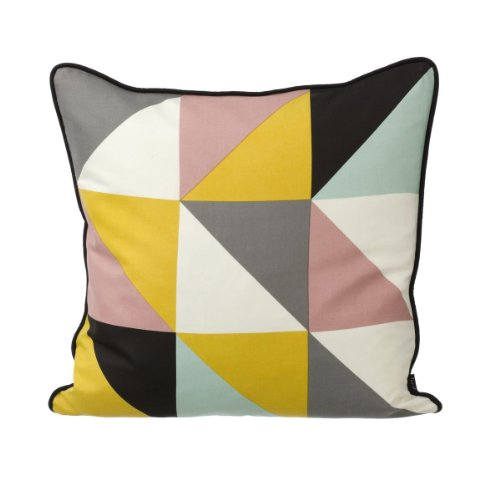 Ferm Living Kissenhülle 50 x 50 cm Remix Cushion - Yellow incl. Inlet