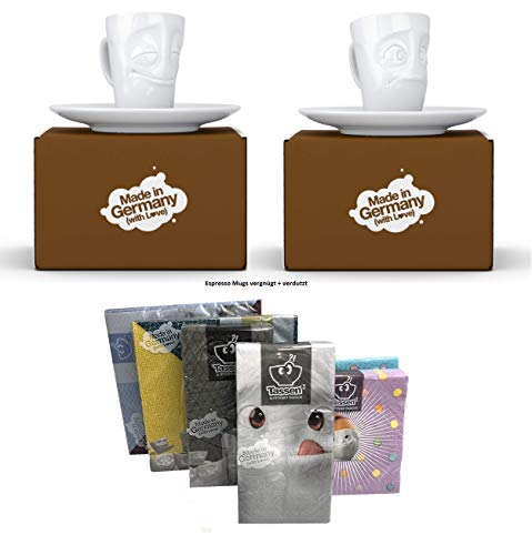 Fiftyeight Espressotassen Espresso Mug 2er Set + SERVIETTEN, 80 ml, VERGNÜGT+VERDUTZT E Mugs 2