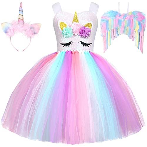 Vestito Unicorno Bambina con Unicorno Cerchietto Ali Principessa Unicorno Abito Tutu per Bambina Ragazza 3 4 5 6 7 8 9 anni Halloween Carnevale Cosplay Festa Costume (7-8 anni)