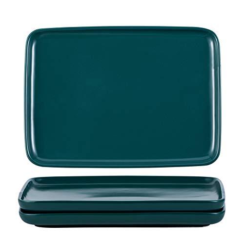 Jusalpha Porcelain Rectangle Dinner Plates, Elegant Matte Serving Plates for Dessert, Pasta, Steak and Salad, Dinner Plates, Set of 3, SYPL08 (Dark Turquoise Green)