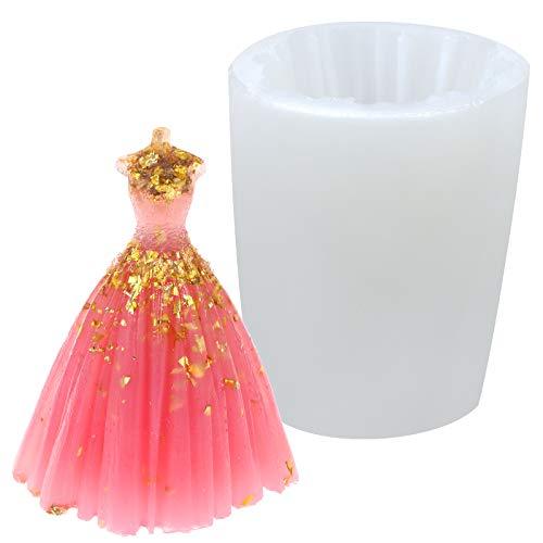 LOCOLO 3D Hochzeitskleid Silikonform Hochzeitsfeier Kuchen Dekoration Kleid Form Braut Brautkleid Silikon Kerzenseife Formen herstellen Stereo Hochzeitskleid Gießharzformen