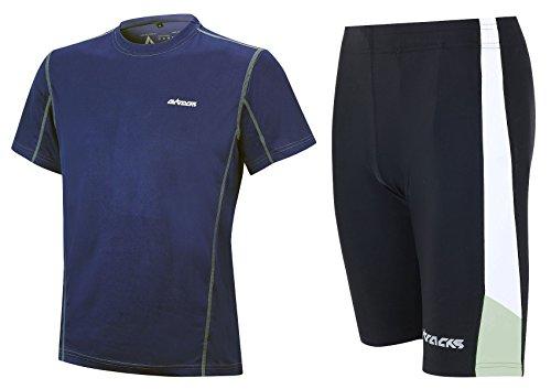 Airtracks Ensemble de course fonctionnel avec short de course et t-shirt de course à manches courtes Pro Air / respirant / séchage rapide - Noir/bleu - L