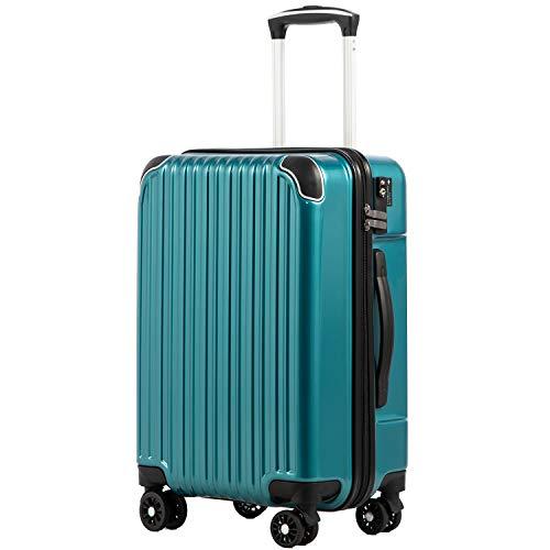 [クールライフ] COOLIFE スーツケース キャリーバッグダブルキャスター 二年安心保証 機内持込 ファスナー式 人気色 超軽量 TSAローク (メタリックグリン, S サイズ(機内持ち込み))