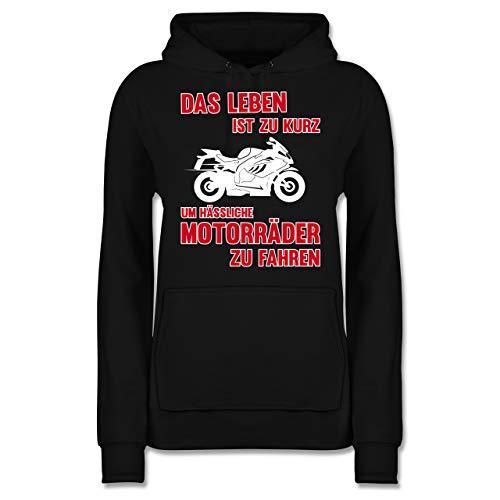 Motorräder - Das Leben ist zu kurz um hässliche Motorräder zu Fahren 3 - M - Schwarz - Motorrad sprüche Hoodie - JH001F - Damen Hoodie und Kapuzenpullover für Frauen