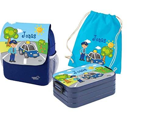 Mein Zwergenland Set 4 Kindergartenrucksack mit Brotdose Maxi und Turnbeutel Happy Knirps Next Print mit Name Polizei, 3-teilig, Blau