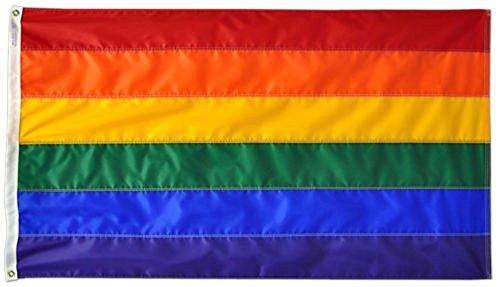 12x18 Rainbow Stripes Gay Lesbian LGTB Pride Embroidered Sewn Boat Flag 12'x18' Banner