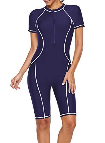 ROSKIKI Womens One Piece Zip Front Surfing Swimsuit Boyshorts Short Sleeve Athletic Swimwear Bathing Suit Blue S