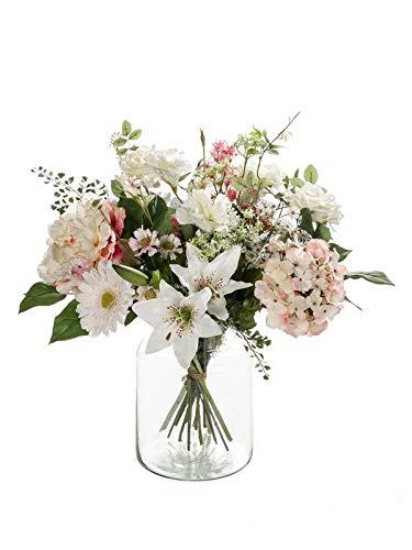 artplants.de Kunst Blumenstrauß Feme, rosa-weiß, 60cm, Ø 40cm - Künstlicher Blumenstrauß - Kunststoff Strauß