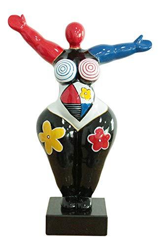 Meubletmoi - Statua decorativa da donna, 54 cm, motivo: braccio sollevato, multicolore