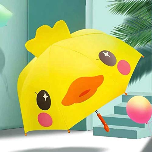 NLASHFO Kinderschirme, Baby-Regenbekleidung, Kindergartenkinder, Grundschüler, Jungen und Mädchen, Schule, Langer Griff, Kleiner Regenschirm(Color:黄色,Size:)