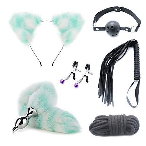 Wytinug 6Pcs/Set Female Bôňdáģê Ādül-lt Party Toys Cat Ears Headband Plush Tâil BùttƤlüg Toys