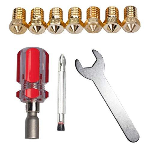 Odoukey 3D-Drucker Düse Ersatz-Werkzeug-Satz Schraubenschlüssel 0.2mm 0.3mm 0.4mm 0.5mm 0.6mm 0.8mm J Kopf E3d V5 V6