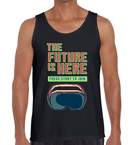 The Future Is Here Virtual Reality Pixel Art Camiseta sin Mangas sin Mangas para Hombre XX-Large