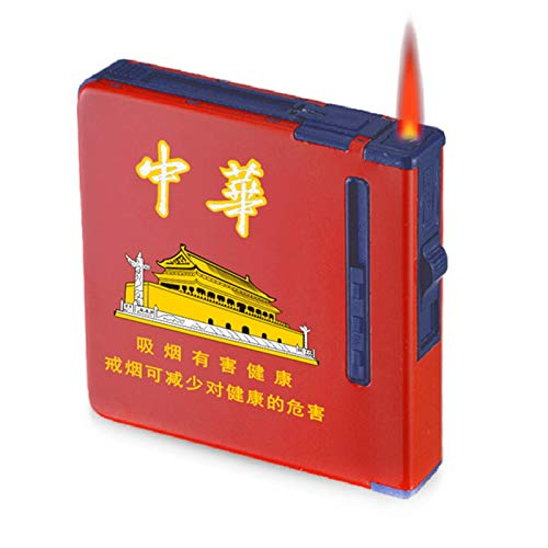 HQPCAHL Pitillera Caja De Cigarrillos con Encendedores Caja De Puros De Bolsillo De Metal para Cigarrillos Encendedores A Prueba De Viento Sin Llama Recargables 2 En 1,G