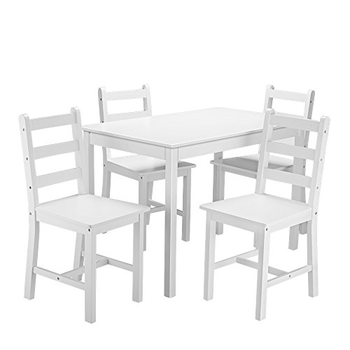 Panana Wooden Dining Table Set with 4 Chairs Contemporary Dining Furniture Three Color for Choice (White)