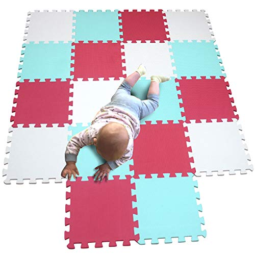MQIAOHAM zachte uitrusting spelen schuimtegels sensorische babyspeeltjes gym training matmatten voor kinderen puzzel puzzels gigantische vloermat Wit Groen Roos 101108109