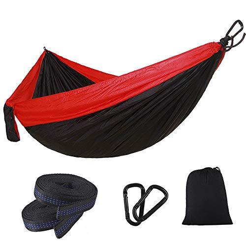 MDZZ Lumière Voyage Camping Hammock, Nylon Portable Balançoire Sommeil lit, Parachute étanche pour la Plage de Jardin Accessoires Outdoor Gear,Rouge