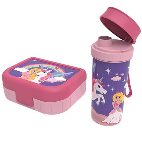"""Rotho, Memory Kids, Lot de 2 boîtes à légumes avec bouteille en plastique (PP) sans BPA, rose avec motif """"princesse"""", 1l + 0,4l (20,7 x 7,5 x 17,4 cm)"""