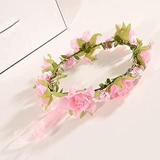 MOPOLIS Boho Floral Flower Girl Bride Hairband Head Band Wedding Beach Holiday Garland | Color - Pink
