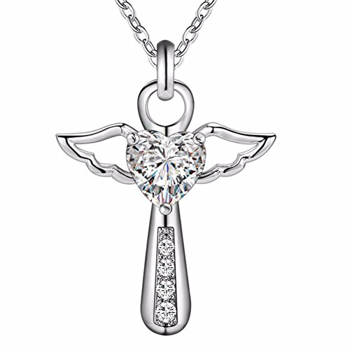 Prinzessin zu Stolberg - Kette mit Engelanhänger   Kreuz & Herz Amethyst   4 Zirkonias - Silber veredelt (Weiß)