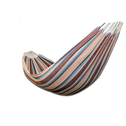 RSdfjLfjd Preventie van het rolgordijn, eenvoudige en dubbele hangmat voor buitenshuis / tuin camping vrije tijd draagbaar strrand Swing bed hangmat 200x100cm(79x39inch) Bruin