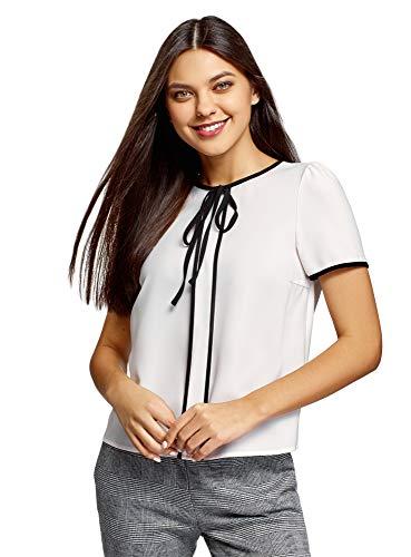 oodji Ultra Damen Kurzarm-Bluse mit Bindebändern und Kontrastbesatz, Weiß, DE 42 / EU 44 / XL