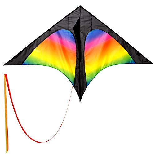 Wolkenstürmer Delta Kinderdrachen Rainbow mit 3m Drachenschwanz, idealer Einsteigerdrachen