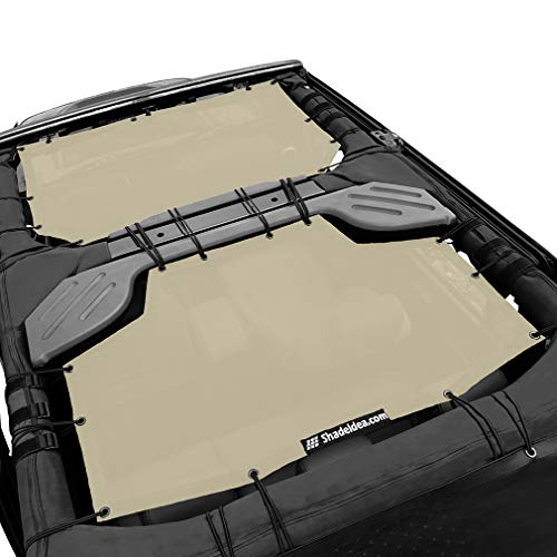 Shadeidea Sun Shade for Jeep Wrangler JK Unlimited (2007-2018) 4 Door-Beige Mesh Screen Sunshade JKU Top Cover UV Blocker with Grab Bag-One time Install 10 years Warranty