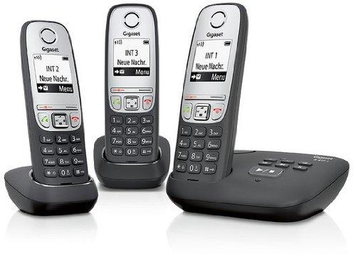 Gigaset A415A Trio 3 schnurlose Telefone mit Anrufbeantworter (DECT Telefone mit Freisprechfunktion, Grafik Display und leichter Bedienung) schwarz
