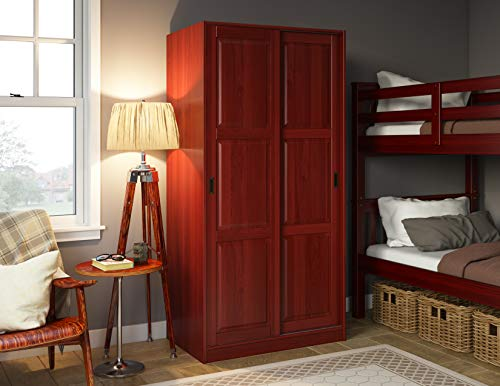 100% Solid Wood 2-Sliding Door Wardrobe/Armoire/Closet/Mudroom Storage by Palace Imports, Mahogany. 1 Large Shelf, 1 Clothing Rod Included. Extra Optional Shelves Sold Separately. Requires Assembly