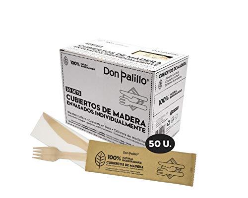 Don Palillo- 50 Sets de Cubiertos de Madera desechable enfundados en Papel...