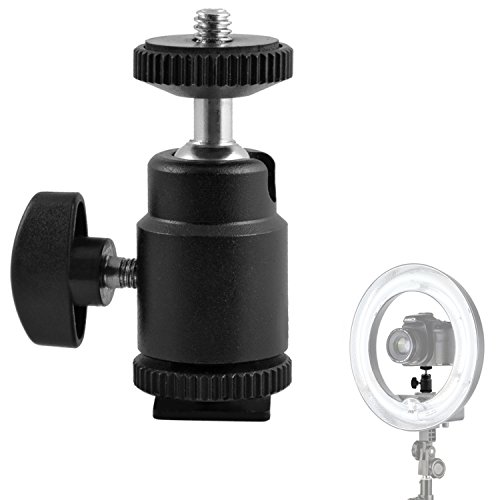 """Mini Ball Head Hot Shoe Mount Adapter 360-degree Rotation with 1/4"""" Screw Mount for DSLR Cameras Camcorder Video Light LCD Monitors"""